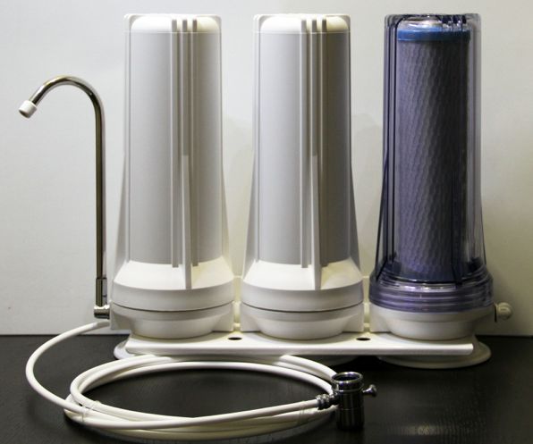 This system right here from PureEffects can make your drinking water at home virtually radiation and chemical free.