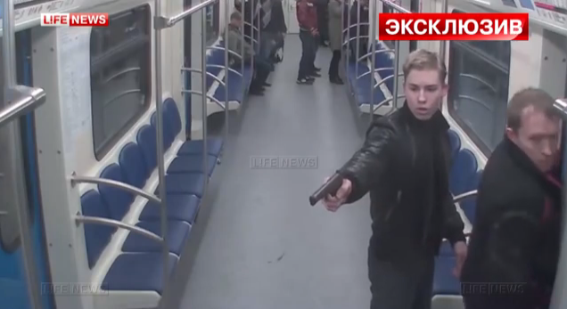 Nothing to see here folks, just a regular every day subway shooting in Russia.  Same old, same old.